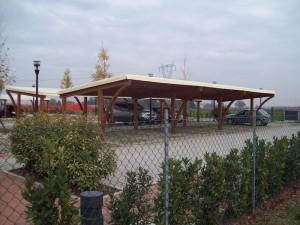 Cover auto in legno di abete lamellare copertura in bambù e telo pvc
