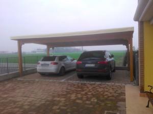 Cover auto in legno di abete lamellare copertura in bambu' e telo in pvc