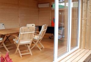 Casetta ufficio o sauna con struttura  monofalda con tetto